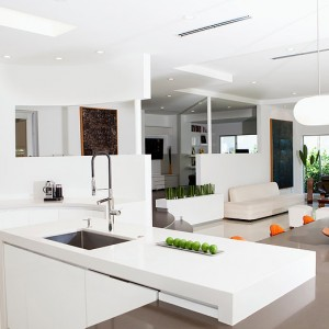 Counters, tables and chairs in modern living space